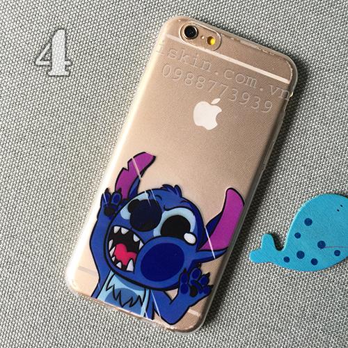 Ốp Lưng Iphone 5, 5s, 6, 6 Plus Trong In Hình Stitch Dễ Thương
