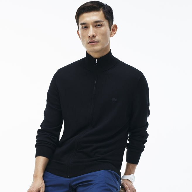 Aó len - Lacoste ZIPPERED CARDIGAN IN JERSEY WITH STAND-UP COLLAR