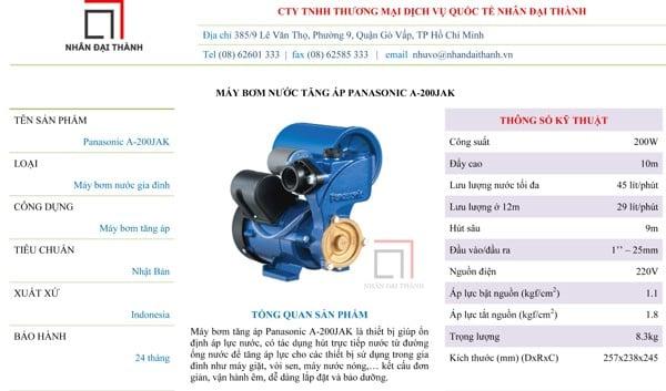Thông số kỹ thuật của máy bơm tăng áp Panasonic A-200JAK 200W