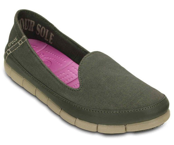Crocs - Stretch Sole Skimmer W Dusty Olive/Cobblestone Nữ