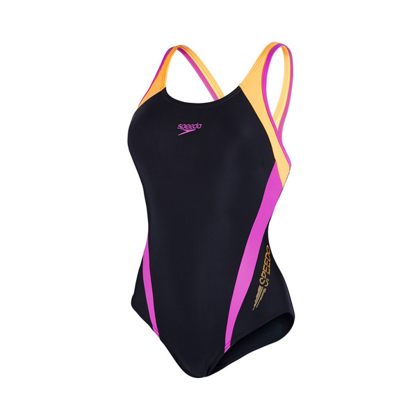 Speedo - Monokini Nữ Endurance 10 Logo Splice Muscleback Black/Orange