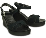 Crocs - Leigh Giày Sandal Guốc Wedge W Black/Black Nữ