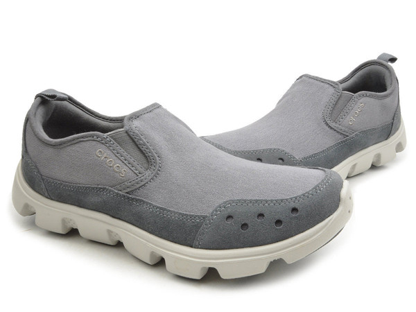 Crocs - Duet Sport Stretch Canvas Slip Charcoal/Pearl White Nam