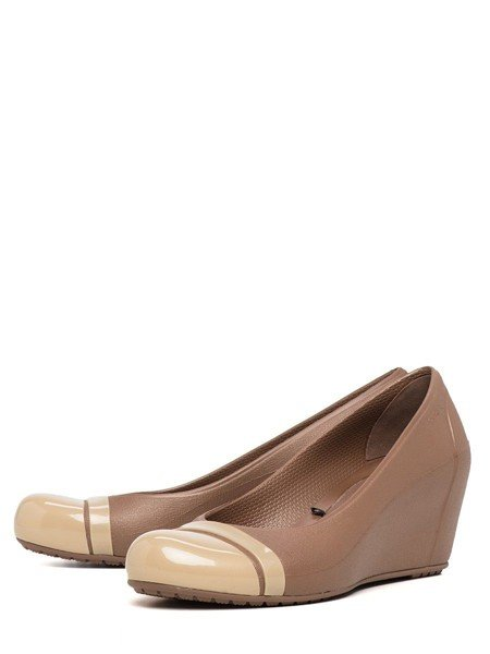 Crocs - Cap Toe Guốc Wedge Bronze/Gold Nữ