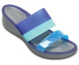 Crocs - ColorBlock Guốc Wedge W Storm/Cerulean Blue Nữ