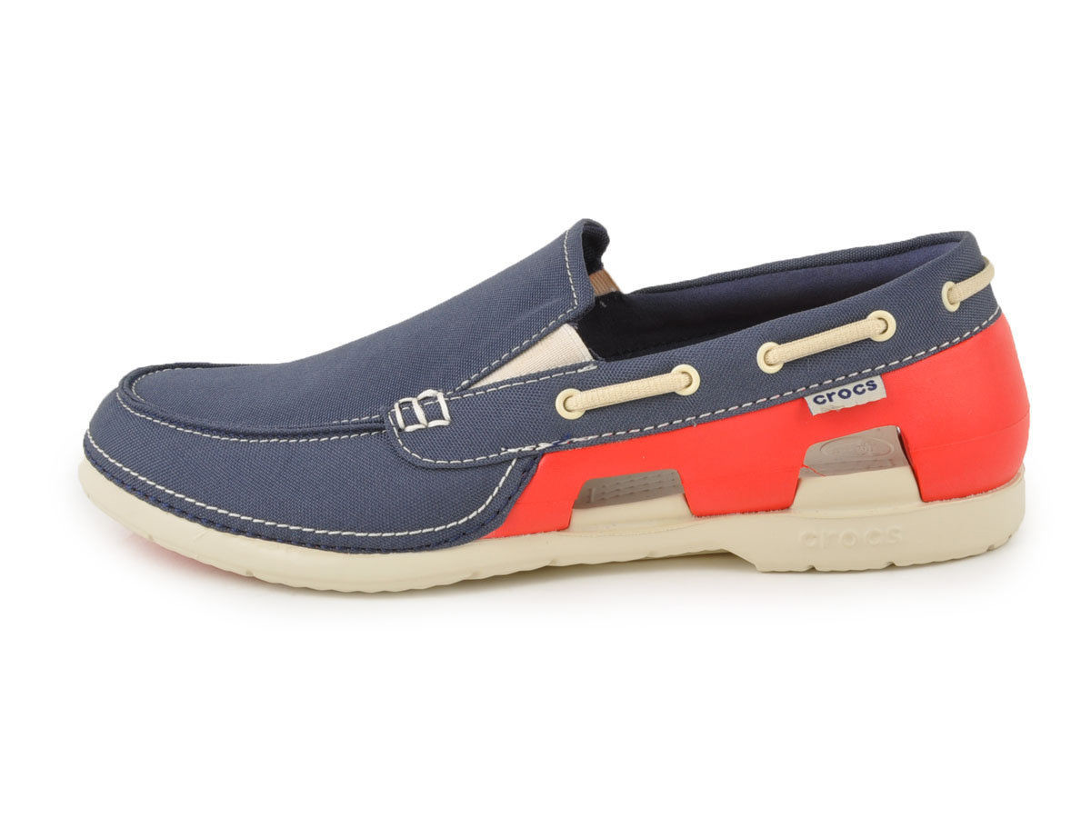 52bfc1ecef2faf Crocs - Beach Line Boat Giày Lười Slip-on M Navy Red Nam – CART VIET NAM