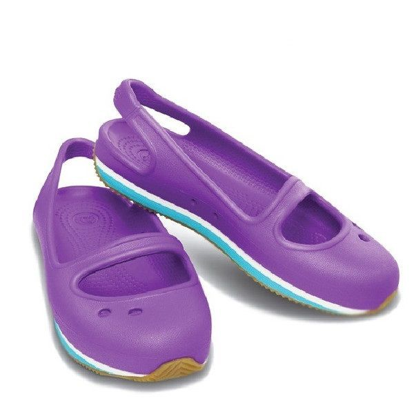 Crocs - Crocs Retro Guốc Marry Jane Girl C Neon purple/Surf Bé Gái