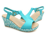 Crocs - A-leigh Ikat Guốc Wedge W TURQUOISE/GOLD Nữ