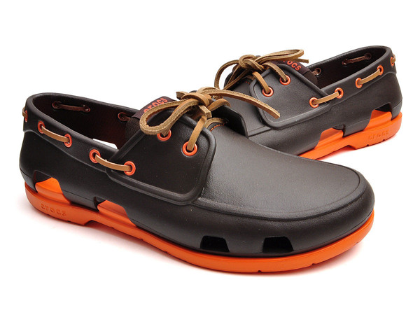 Crocs - BEACH LINE BOAT Giày Lười KIDS M ESPRESSO/ORANGE Nam