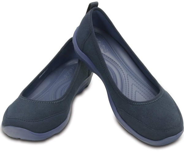 Crocs - Duet Busy Day Giày Búp Bê Flat (New Tool) 2.0 Stretch Canvas Navy/Bijou Nữ