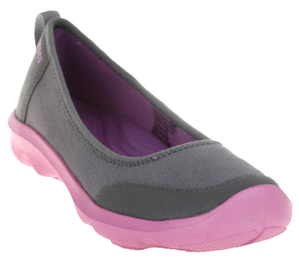 Crocs - Duet Busy Day Giày Búp Bê Flat (New Tool) 2.0 Stretch Canvas Charcoal/Wi Nữ