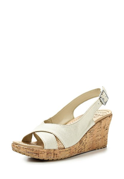 Crocs - A-leigh Linen Cork Wrap Guốc Wedge Stucco/Gold Nữ