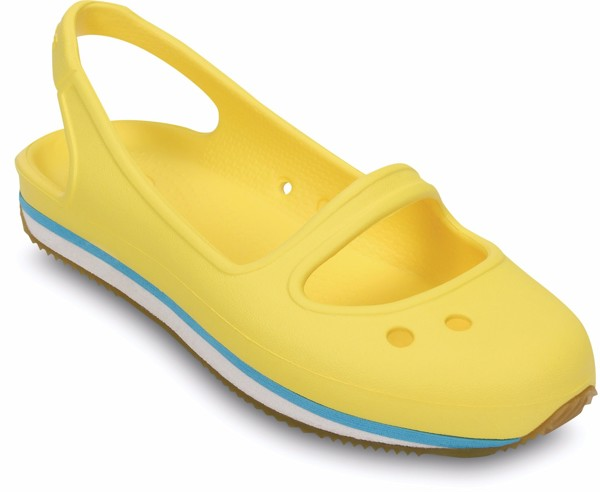 Crocs - Crocs Retro Guốc Marry Jane C Sunny/White Bé Gái