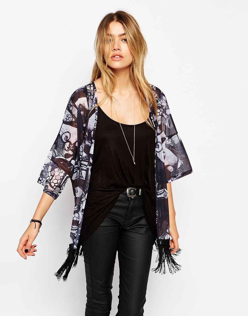 Kimono with Fringing in Solstice Print