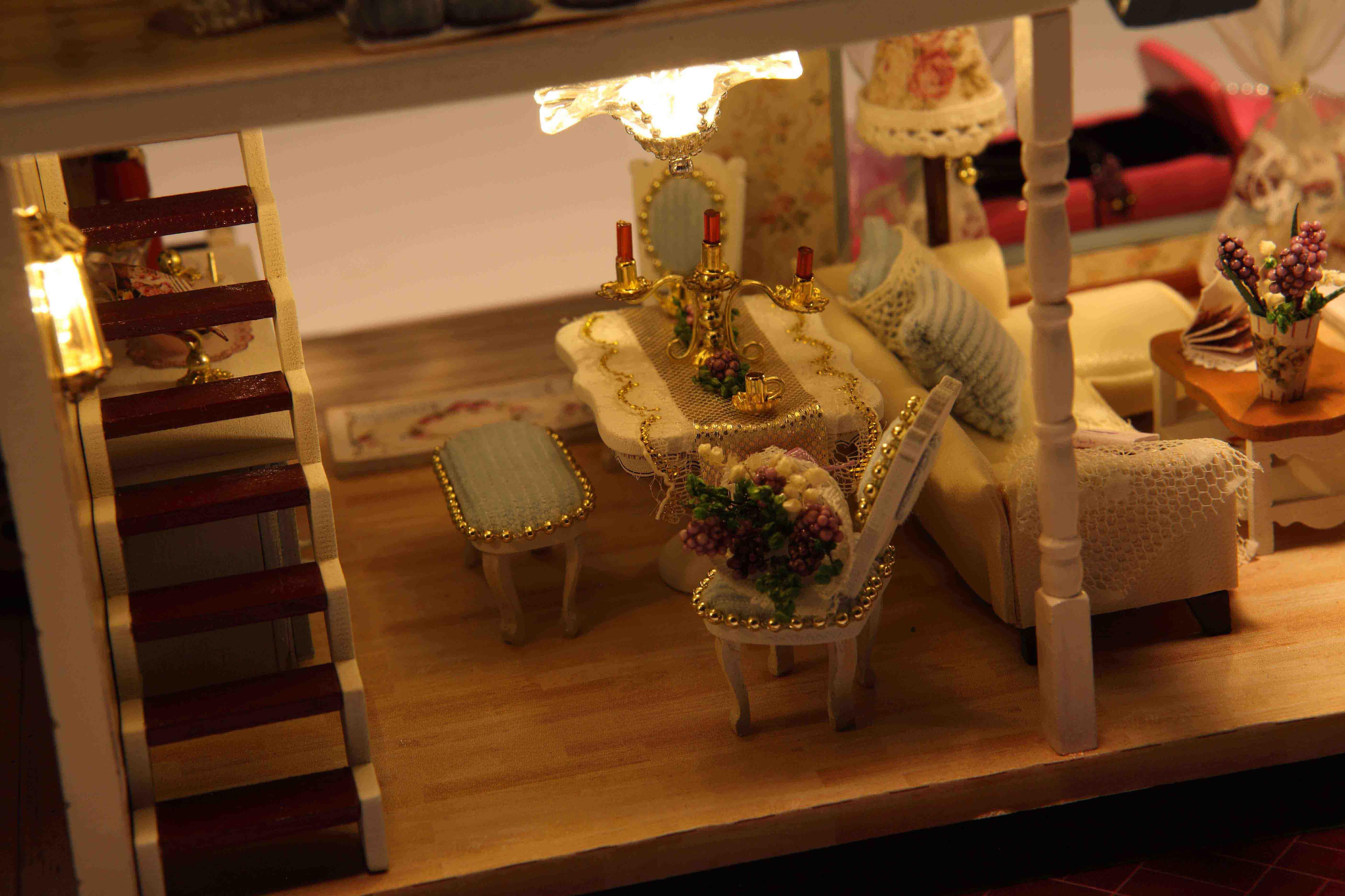 Mô hình đồ chơi nhà gỗ DIY,Nhà lắp ráp handmade