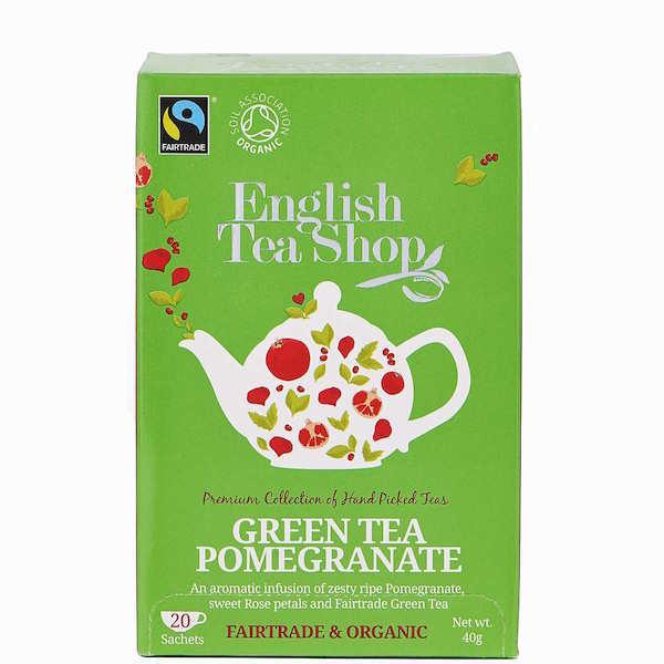 Trà hữu cơ Green Tea Pomegranate (Trà xanh thạch lựu) ENGLISH TEA SHOP 20 gói