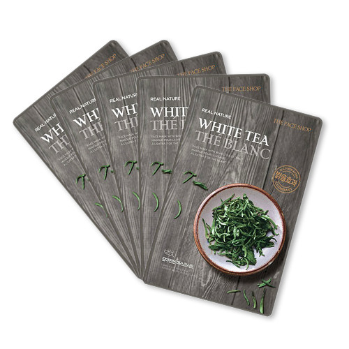 THEFACESHOP REAL NATURE WHITE TEA FACE MASK (SET 5 PCS)