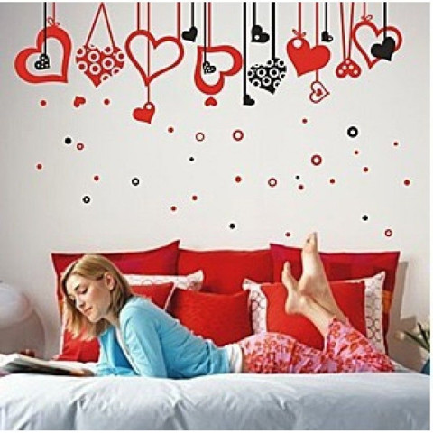 #FL012 Hearts and Hearts  (200x120cm) - Decal dán tường - 1