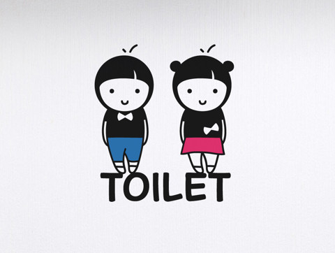 #DW001 Toilet-Couple - Decal dán tường - 1