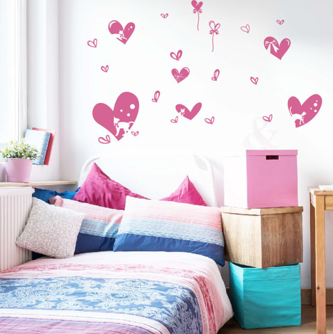 #FL013 Cats in Hearts - Decal dán tường - 1