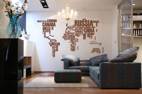 #FT001 World Map in Words - Decal dán tường - 1