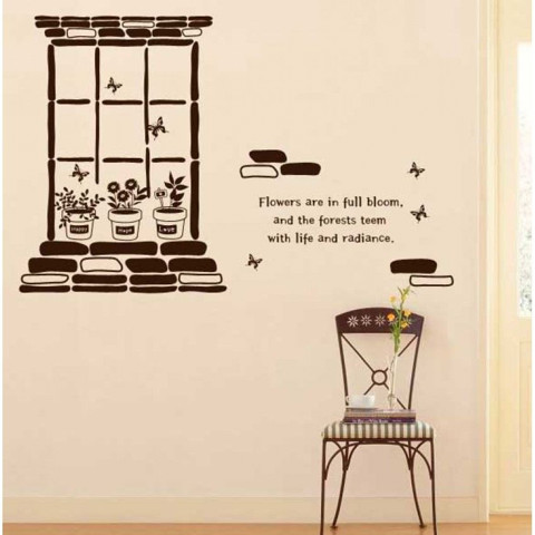 #DD010 Flowers in the window - Decal dán tường - 1