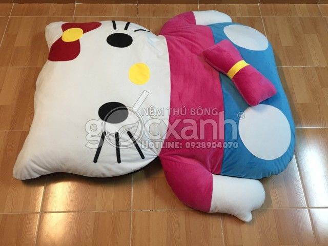 Nệm Hello Kitty Color Block hồng xanh 1 x 1.4m