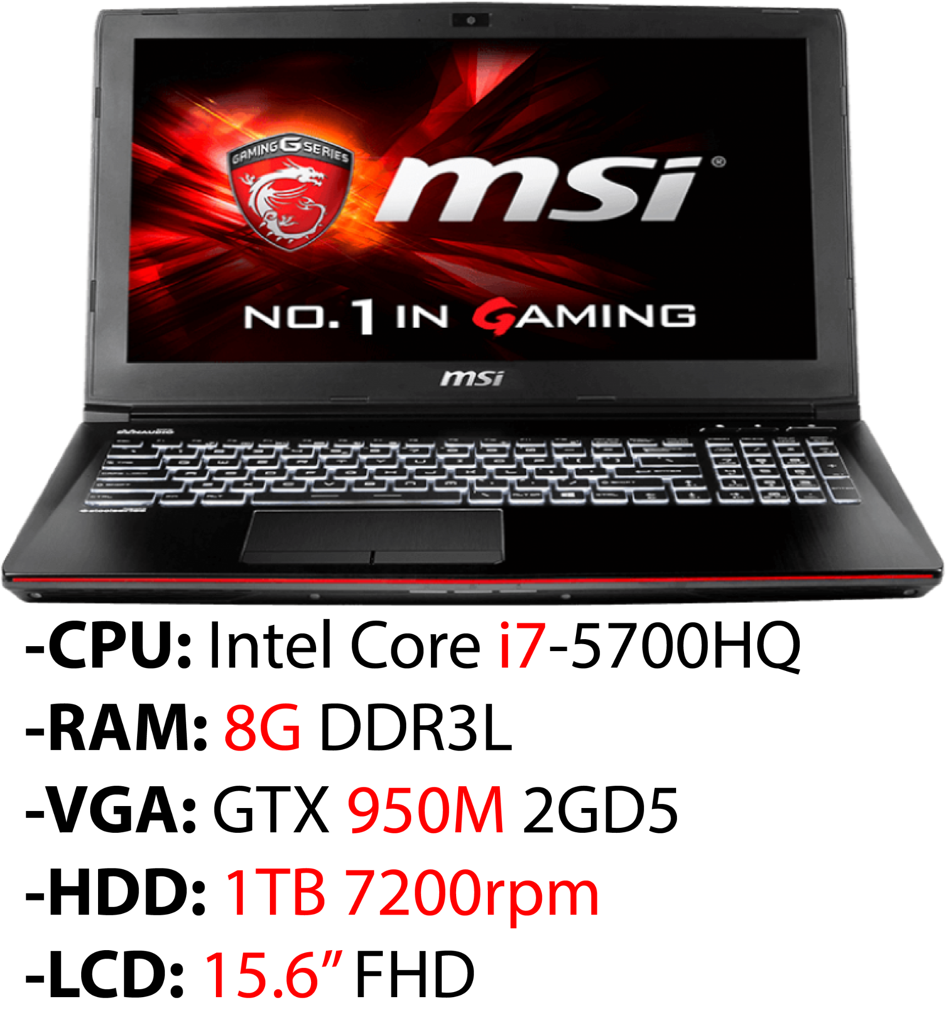 Laptop Gaming MSI GE62 2QL Apache 463XVN