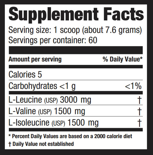 BCAA 457gr/12000 Supplement facts