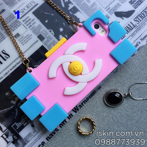 Ốp Lưng Iphone 5, 5s Chanel Lego Silicon Dẻo Có Dây Đeo