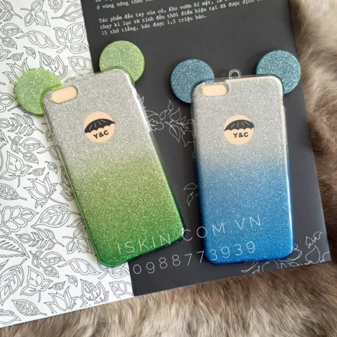 Ốp Lưng Iphone 6 6s Plus Mickey Ombre Kim Tuyến Silicon Dẻo